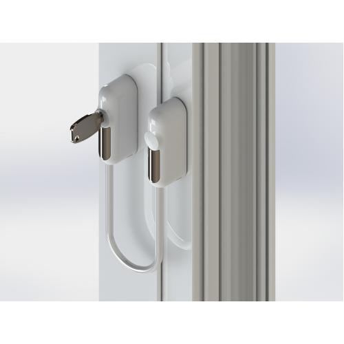 Raambeveiliger chroom / kabel transparant inclusief 1 sleutel