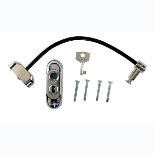 Raambeveiliger chroom / kabel zwart inclusief 1 sleutel