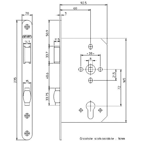 Nemef sluitplaat P646/12 LS